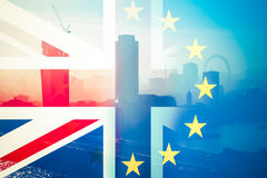 Brexit concept - Union Jack flag and iconic UK landmarks. Brexit concept - Union Jack flag and iconic London landmarks stock photography