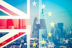Brexit concept - Union Jack flag and iconic UK landmarks Royalty Free Stock Photo