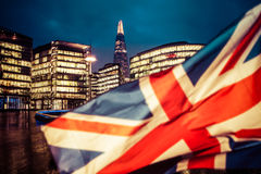 Brexit concept - Union Jack flag and iconic UK landmarks Stock Images