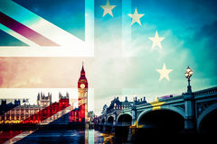 Brexit concept - Union Jack flag and iconic UK landmarks Royalty Free Stock Image