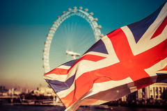 Brexit concept - Union Jack flag and iconic UK landmarks Stock Photos