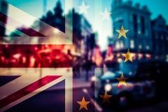 Brexit concept - Union Jack flag and iconic UK landmarks Stock Image