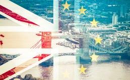 Brexit concept - Union Jack flag and iconic UK landmarks Royalty Free Stock Photos