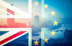Brexit concept - Union Jack flag and iconic UK landmarks Stock Photography