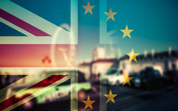 Brexit concept - Union Jack flag and iconic UK landmarks Royalty Free Stock Photography