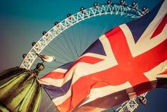 Brexit concept - Union Jack flag and iconic UK landmarks Stock Images