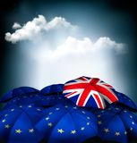 Brexit concept. Union jack umbrella between EU umbrellas. Vector Royalty Free Stock Photo