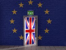 Brexit conceptual illustration. 3D render of half open door with Great Britain flag in the wall with superimposed EU flag as Brexit concept vector illustration
