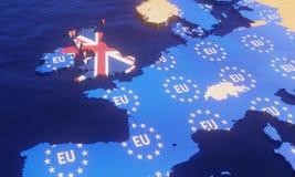 Brexit - 3D例证欧盟地图 向量例证