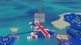 Brexit - 3D例证的船关闭 皇族释放例证