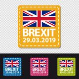 Brexit 2019 Date - Four Colorful Square Buttons - Vector Illustration - Isolated On Transparent Background Stock Photos