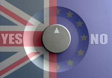 Brexit dial concept. Dial pointer inbetween British and European flags with brexit question Stock Photo