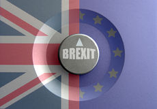 Brexit dial concept. Dial pointer inbetween British and European flags with brexit question Stock Photography