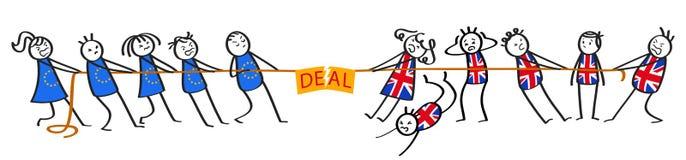 Brexit dragkamp mellan EU och Storbritannien, avtalstecken, grupper av pinnediagram, kaos vektor illustrationer