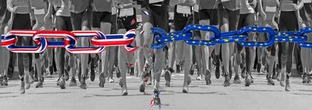 Brexit england european union flag chain run runners feet start finish line sports background. Brexit england european union flag chain run eurozone runners feet stock images