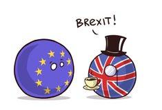Brexit eu exit. Countryballs fun stock illustration