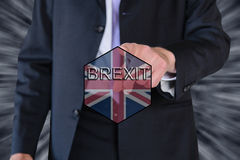 Brexit and eu flag and a business man Royalty Free Stock Image
