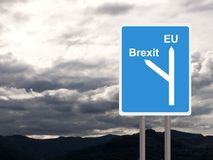 Brexit, EU road sign against cloudy sky. Concept, politics UK. royalty free stock photo