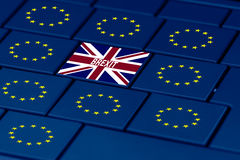 Brexit and eu symbol in pc keyboard Royalty Free Stock Photos