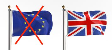 Brexit - EU and UK Flags Royalty Free Stock Photography
