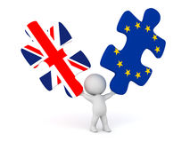 Brexit EU and the UK splitting up. 3D character holding up two puzzle pieces with UK and EU. Isolated on white background Royalty Free Stock Image
