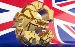 BREXIT - euro signe cassé - rendu 3D illustration de vecteur