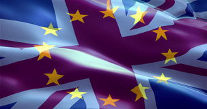 Brexit european flag and united kingdom of great britain england flag show with fade, crisis of eurozone brexit. Vote referendum for uk exit concept stock footage