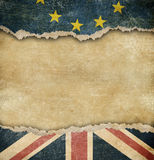 Brexit - European union and Great Britain flags on cardboard. European union and Great Britain flags on cardboard parts Royalty Free Stock Images