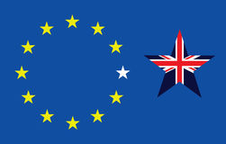 Brexit Exit. Representation of the United Kingdom breaking away from the European Union resulting from the June 2016 referendum Royalty Free Stock Photography