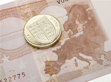 Brexit för euroanmärknings- & pundmynt begrepp Royaltyfria Foton