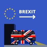 Brexit för flagga för UK för dubbeldäckarebuss målad Royaltyfri Fotografi