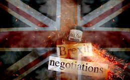 Brexit fail concept. With retro Robot on fire royalty free stock photography