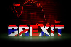 Brexit Financial Crisis, 3D Rendering. 3D rendering Brexit financial crisis with falling stock market background Royalty Free Stock Photo