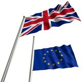 Brexit - The flag of Great Britain with EU-flag. The flag of Great Britain with EU-flag at halfmast after Brexit Royalty Free Stock Photography