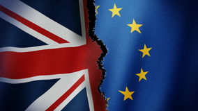 Brexit Flag Loop. Animation of torn United Kingdom and European Union Flags symbolizing Brexit stock footage