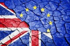 Brexit, flaggor av Förenade kungariket och den europeiska unionen Royaltyfri Bild