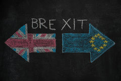 Brexit, flags of the United Kingdom and the European Union on blackboard. Brexit, flags of the United Kingdom and the European Union drawn with white chalk on Stock Photography