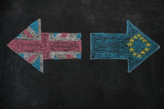 Brexit, flags of the United Kingdom and the European Union on blackboard. Brexit, flags of the United Kingdom and the European Union drawn with white chalk on Royalty Free Stock Images