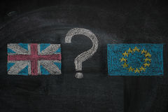 Brexit, flags of the United Kingdom and the European Union with question mark between  on blackboard. Brexit, flags of the United Kingdom and the European Union Stock Photo