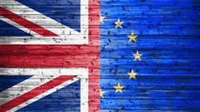 Brexit, Flags Of The United Kingdom And The European Union On Wooden Background. Close Up View royalty free stock photos