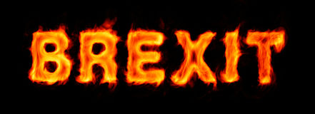 Brexit flaming inscription on black Stock Photo
