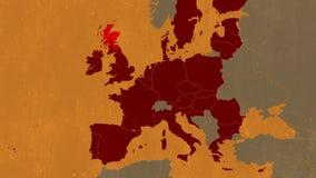 Brexit - geanimeerde kaart die het UK tonen die de EU verlaten vector illustratie