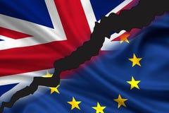 Brexit - geteilte Flaggen von Großbritannien und von Europa lizenzfreies stockbild