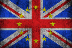 Brexit grunge uk england great britain flag with european union EU yellow stars Stock Photos