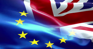 Brexit half european flag and united kingdom of great britain england flag waving, crisis of eurozone brexit stock footage