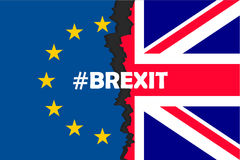 Brexit hashtag two parts of flags. Metadata tag for social network and microblogging, British exit decision. Vector flat style illustration stock illustration