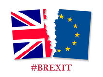 Brexit hashtag two parts of flags. Metadata tag for social network and microblogging, British exit decision. Vector flat style illustration on white background royalty free illustration