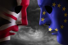 Brexit head to head EU and UK flags stock image
