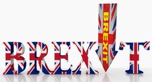 Brexit i motsats till textpilen för hårt ord - tolkning 3d vektor illustrationer