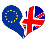 Brexit illutration heart broken. Between europe and uk flag Stock Photo